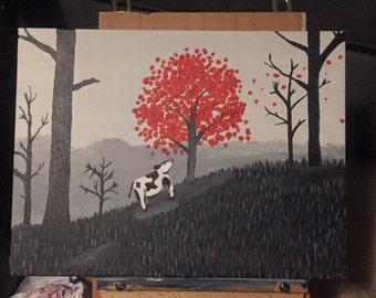 Hope Springs Eternal, Cow, Cow Art, Cow Painting, Black and white, red, tree, landscape, peaceful, inspirational, cow lovers, color splash