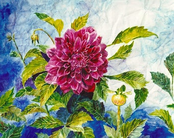 Dahlia Limited Edition Print of my Original Watercolor Painting