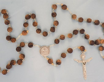 Coco Wood Rosary - Nat Brown Coco Wood Flat Round Beads - Czech Gold Glass Beads - Italian Holy Face Center - Italian Holy Trinity Crucifix
