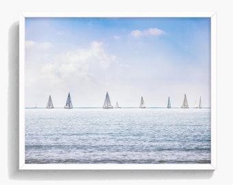 Ocean Print, Ocean Wall Art, Sailboat Print, Coastal Decor, Large Printable Poster, Digital Download, Green and Black #387