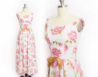 Vintage EMMA DOMB Dress - 1960s Floral Pink Sequin Gown Party Maxi Dress 60s - Extra Small XS