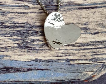 Silver Heart Pendant, Silver Heart Necklace, Hammered Heart Pendant