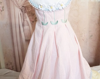 Pink plaid floral  dress