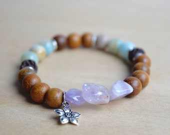 Spiritual Woman Gift / yoga gift for mom, bff bracelet gift for bestfriend, treat yo self, amethyst bracelet, amazonite bracelet, group 17