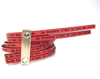 59 cm to 5 mm flat leather pink with message happiness is the joy of others