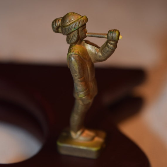 Miniature Medieval Herald Figurine Vintage Gold Color Plastic Toy Soldier Collectible Toy Figurine Miniature Court Herald Bronze Figurine