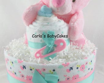 Bear diaper cake | Girl diaper cake| Baby shower decoration | Baby diaper cake | Baby shower gift | Unique Baby gift | New mom gift