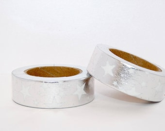 Foil Washi Tape with silver stars Washi tape
