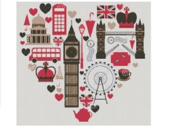 London cross stitch pattern, modern cross stitch pattern, big ben pattern, london cross stitch pattern, cross stitch patter london, pdf