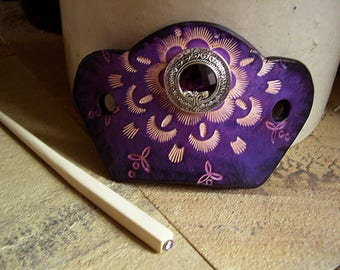 562 Stunning Purple LEATHER hair slide Barrette, bun holder, large purple faceted stone, stamped leather, feminine, romantic, dramatic