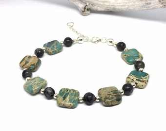 925 sterling silver bracelet with jasper beads, labradorite beads and 925 sterling silver beads closure and extension necklace