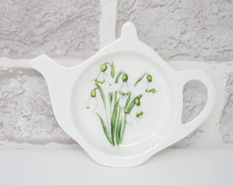 "Used Tea Bag Teapot Shaped Snowdrop Design Fine Bone China Large 6"" Mothers Day Gift 50067"
