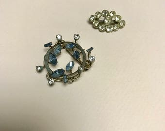2 vintage rhinestone lapel pins