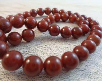 12 Dark Ruby Red Opaque Round Beads 8mm Smooth Finish Dark Maroon Red Stone Beads Red Burnt Orange Smooth Finish Round Stone Beads #S1319
