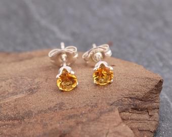 Citrine Earrings, Sterling Silver, Post Earrings, Stud Earrings, Yellow Gemstone, Natural Citrine, Genuine, November Birthstone, 925