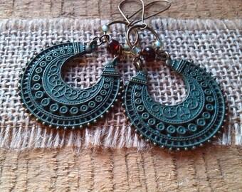 Superb vintage verdigris earrings