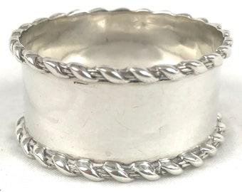 FREE POST - Antique Silver Napkin Ring, Rope Border Rims, Henry Clifford Davis, Edwardian Silver, Birmingham 1909, Quality Silver, Heirloom