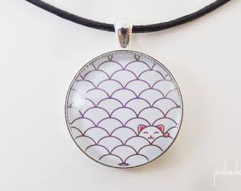 Pendentif avec motif japonais de vagues et chat