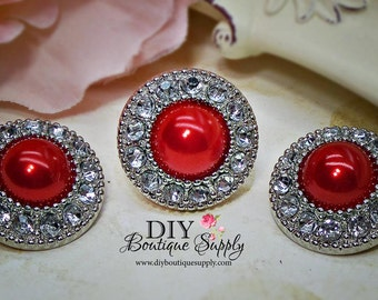5 Pcs RED Pearl Rhinestone Buttons Plastic Acrylic Valentine's Day Pearl Buttons Embellishments Clear Rhinestone Flower Centers  25mm 455035