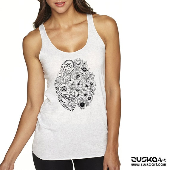 Left Brain Right Brain | Ladies Racerback Tank Top | Graphic tank top | Tattoo style | Original Artwork | Pen and Ink flowers | ZuskaArt