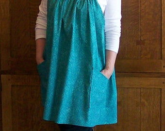 No Tie Smock - Teal Smock with no Ties - Smock Apron - Size XL to 2XL