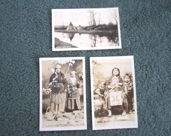 Antique Real Photo Post Card Photograph Lot of 3 Native American Indian
