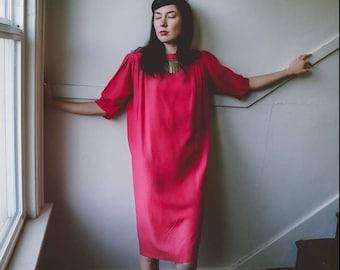 hot pink pure silk dress / silk shift dress / vintage silk dress / womens size 4