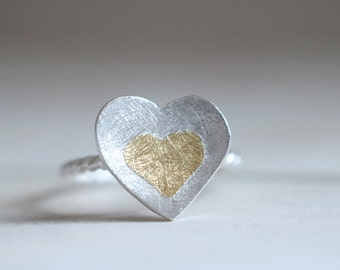 Amour ring. Sterling silver heart ring with 24kt gold. Love ring, Heart ring, Love band, Koum boo, gold heart ring, silver heart ring.