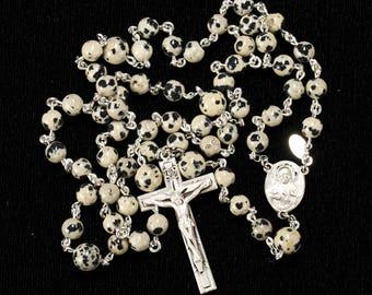 Dalmatian Jasper Men's Rosary - Handmade, Catholic Man's Rosaries with Dalmatian Stones, Sterling Silver Sacred Heart Center, Gift for Him