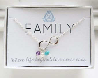 Infinity Birthstone Necklace • Personalized Infinity Charm • Eternity Charm • Custom Mother's Gift • Mother's Jewelry • Jewelry For Mom