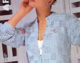 Lady's Cardigan DK 30-40ins incl Teen Sizes Patons 8253 Vintage Knitting Pattern PDF instant download