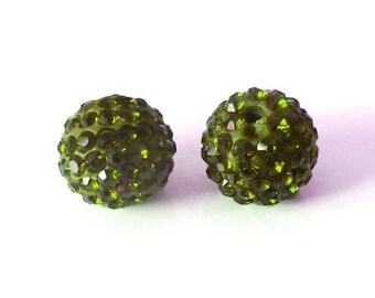 1 x bead ball 10mm OLIVE green Crystal rhinestones