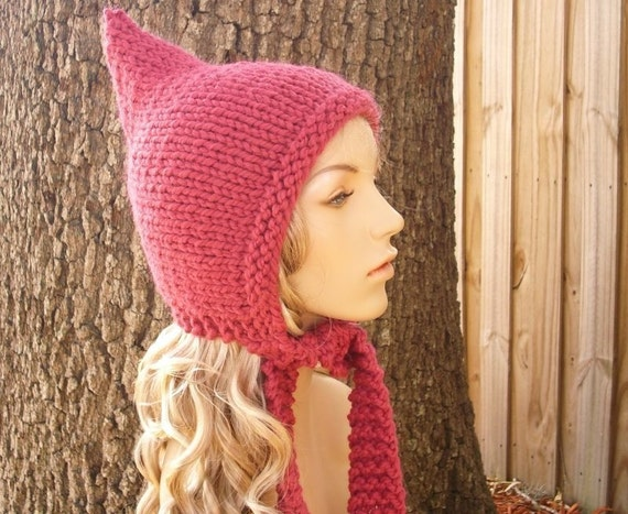 Knit Hat Pink Womens Hat - Raspberry Pink Pixie Hat - Pink Ear Flap Hat - Pink Knit Hat - Pink Hat Womens Accessories Winter Hat