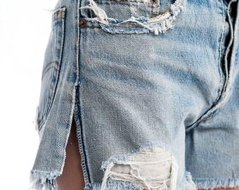 Vintage Levis Abraded Slit Denim Jean Shorts SIZE 26