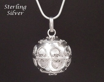 Large Sterling Silver Harmony Ball with Hearts Designs, Lovely Chime Sound | Bola Necklace, Bola de Grossesse, Pregnancy Gift 901