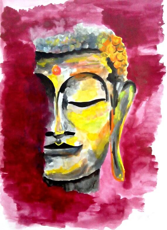Buddha wall art Buddha face painting print Buddha print
