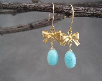 Amazonite Earrings - Bow Jewelry -  Vintage Inspired - Small - Earrings - Bow - Dainty - Victorian - Gold - Matte Gold