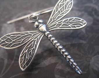 Dragonfly Earrings - Antiqued Silver Dragonfly Earrings, Dragonfly Jewelry, Insect Jewelry, Sterling Silver, Big Earrings, Bohemian Jewelry