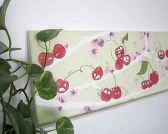 Printing on canvas 80x25 cm cherries illustration, wall decor