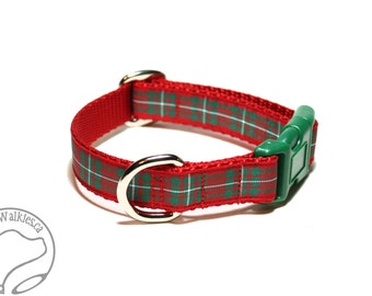 """MacGregor Clan Tartan Dog Collar - Red and Green Plaid - 3/4"""" (19mm) Wide - Martingale or Side Release - Choice of collar style and size"""