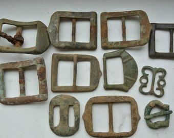 Old Metal Buckles Set Antique Buckles Salvaged Buckles Metal Belt Buckles Patina Archeological Digging Finds