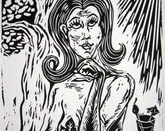 Eve on the Patio Linocut Print Bad A** Women of Sunday School Genesis Old Testament Snake Goddess 60s Bewitched