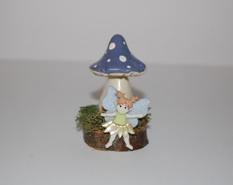 Fairy Garden or Terrarium Decoration - Fairy and Toadstool on Moss Covered Wood Base