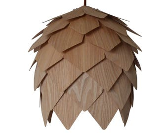 Pendant Light-Ceiling Light-Chandelier Lighting-Hanging Lamp-Wood Pendant Light-Rustic Lighting-Pine Cone Pendant Lamp-Chinese Ash Veneer