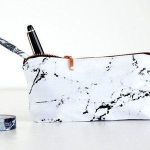 MARBLE bag // pencil case marble makeup bag pouch case rose gold copper zipper black marble made by renna deluxe