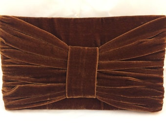 Brown Velvet Clutch Purse with Bow Detail