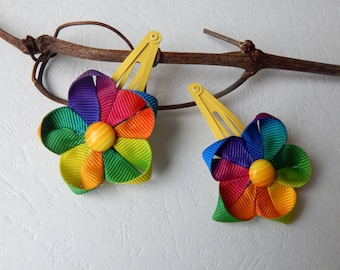Pair of clip kanzashi yellow and multicolor Ribbon clips