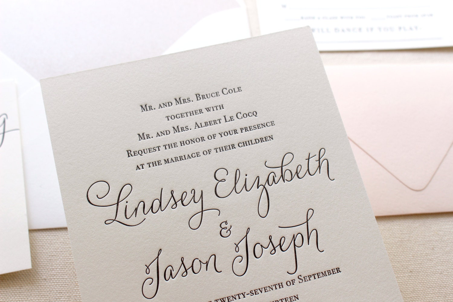 The Belle Suite Taupe and Blush Modern Letterpress Wedding
