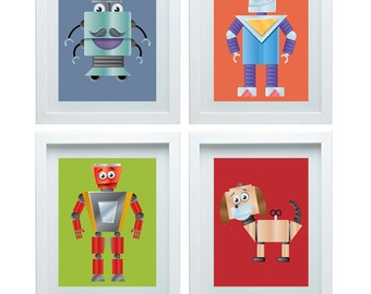 Wall Art For Boys Room, Robot Themed Nursery ,Set of 4-8x10 Prints, Great For Techno Robot Themed Rooms, Nursery or Toddler Room Or Playroo