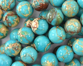 "12mm turquoise blue sea sediment jasper round beads 15.5"" strand 40316"